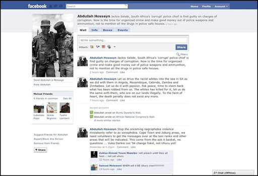 Hossayn Abdullah Uhuru Facebook page DRIVE RACIST WHITES INTO THE SEA
