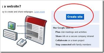 create site di google site