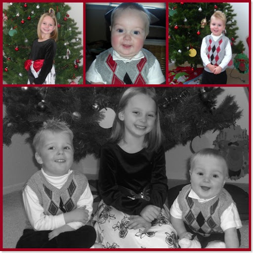 kid in Christmas Clothes collage