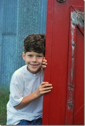 b PJ by barn door