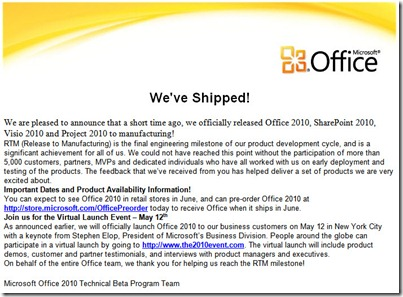 Office 2010 RTM Email