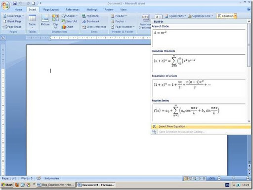 Equation pada Microsoft Word