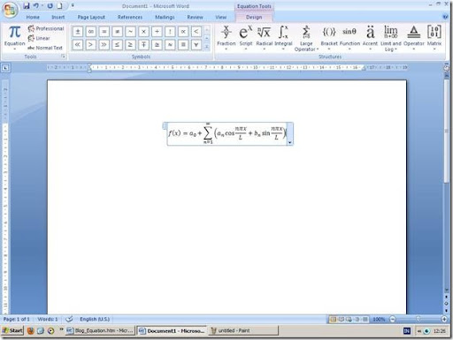 Equation Tools Ribbon pada Microsoft Office Word 2007
