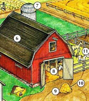 6. granero 7. silo 8. establo 9. hay 10. horquilla 11. corral