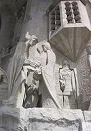 fachada la pasion - El juicio de Jesús - basilica sagrada familia Antonio Gaudi Barcelona