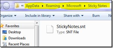 Sticky notes path