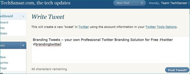 Twitting posts from your Blog Dashboard