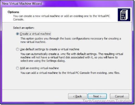 3New Virtual Machine Wizard Options
