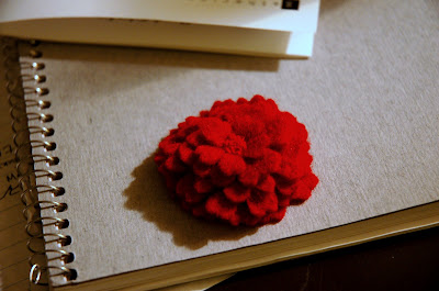 Red Flower Pin Front