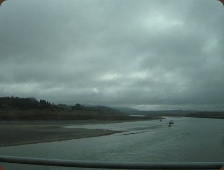 morning fog over the Eel River at Fernbridge makes for a dull day