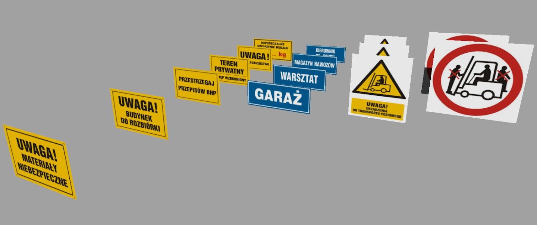 CDplastyk zestaw tabliczek informacyjnych