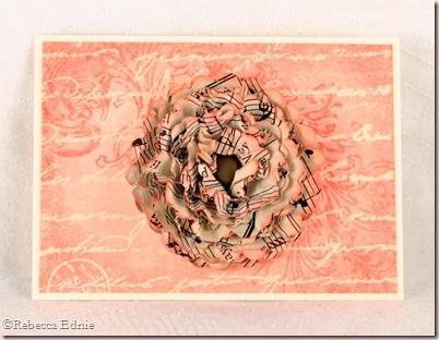 pink script music flower ATC