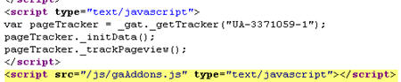 Additional line of Javascript below GATC