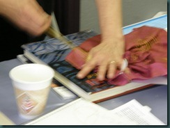 Drawing up lines of stitching