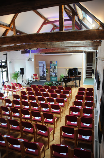 Corsham Court Barn - the songwriters studio used as part of BSUs Distance Learning programme in Songwriting