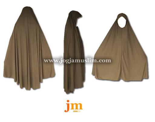 Jual Murah Pakaian Muslim Jilbab Dewasa Bahan Kaos Warna Coklat