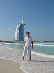 Me in front of Burj al Arab at Jumeirah Beach
