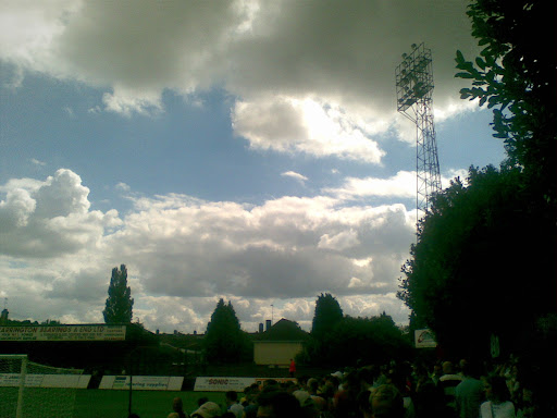 Grey skies above the Rushden fans...