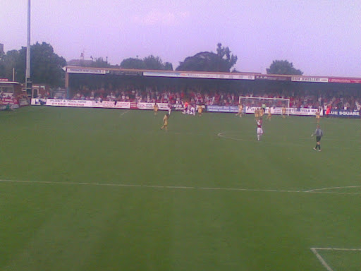 Kidderminster celebrate their 2nd goal in front of their fans.