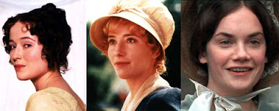 Three panels - Jennifer Ehle in Pride and Prejudice, Ioan Gruffudd in Hornblower, Sean Bean in Sharpe