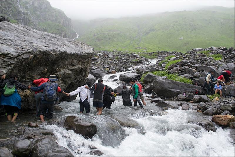 Crossing the Jwara nullah