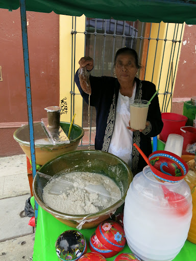 Tejate (maize & cacao beverage) from a street vendor at Plaza Santo Domingo, Oaxaca. Quite sweet and delicious!