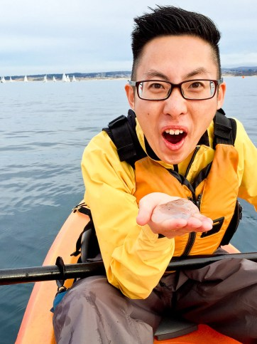 Holding a Melibe while we kayak Monterey Bay.