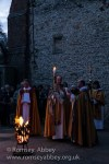 The lit Paschal candle