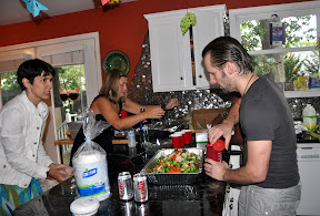 Assembling the food, with great help from Randi and Jen