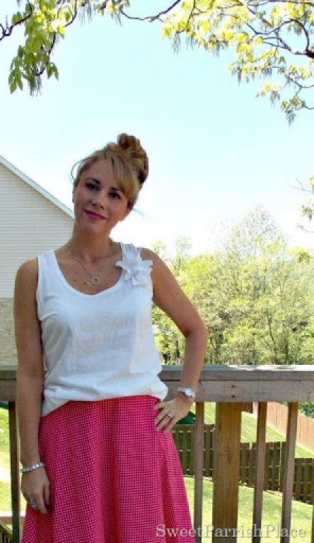 pink polka dotted skirt, white tank, brown sandals4
