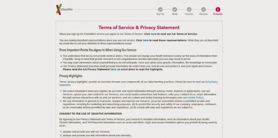 23andMe test kit registration (5/6)