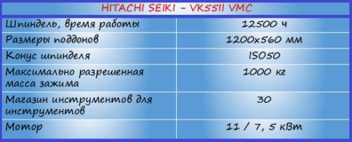 features HITACHI SEIKI - VMC VK55II