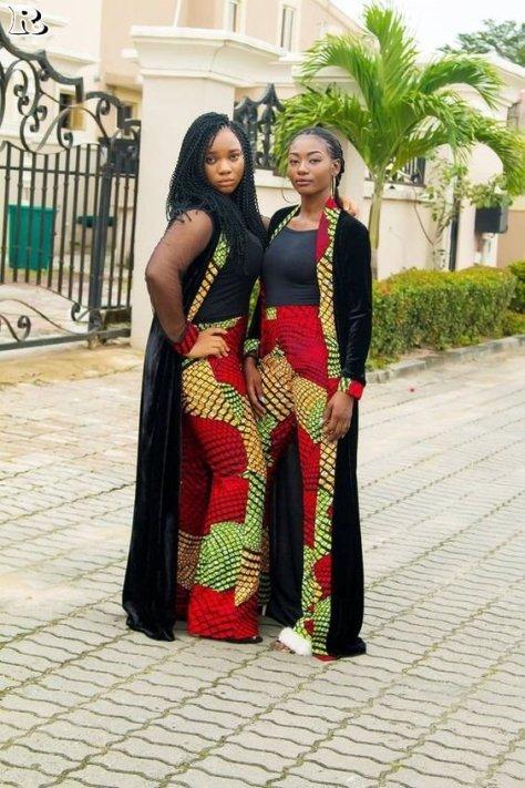 African Print Kimono Jacket and Pantsis