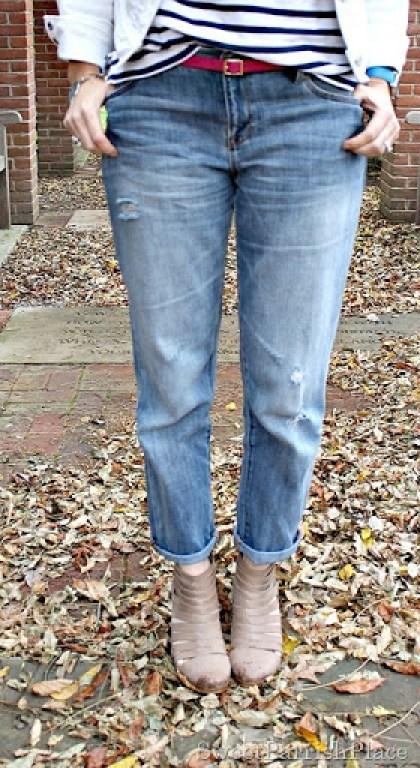 boyfriend-jeans-white-denim-jacket-striped-shirt-floral-scarf-3