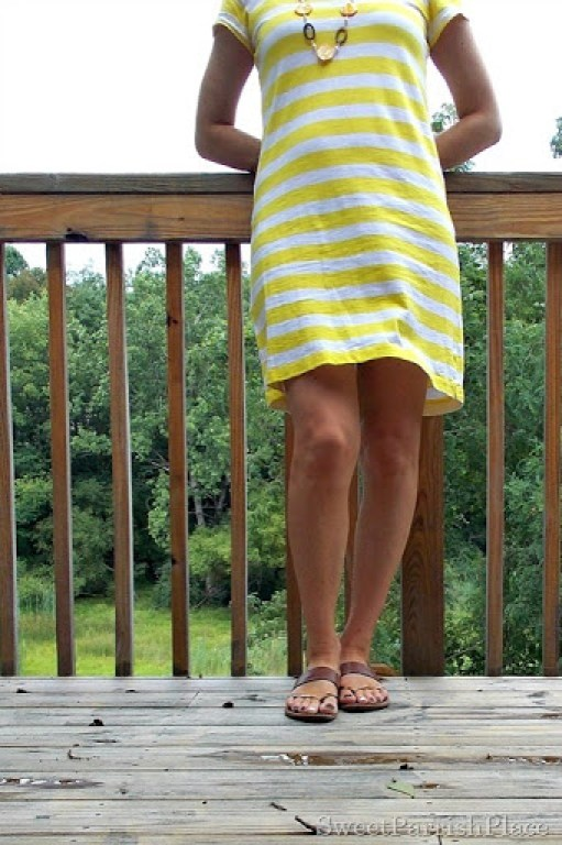 yellow striped shirt dress2