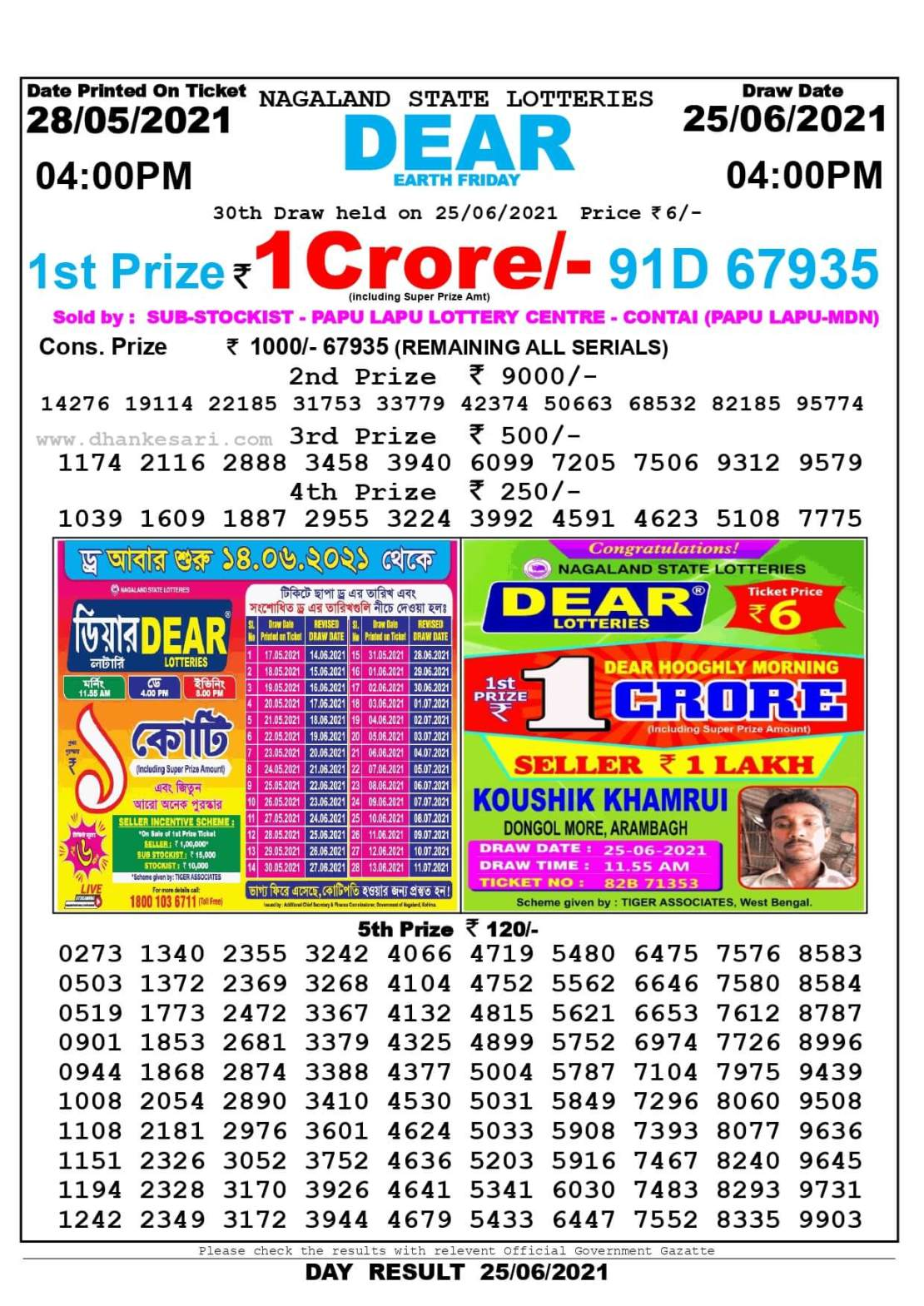 Nagaland State Lottery Result Today 4:00 PM 25.6.2021