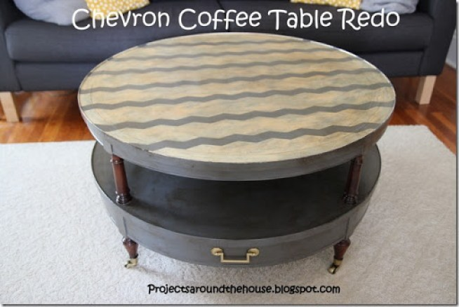 Chevron coffee table redo