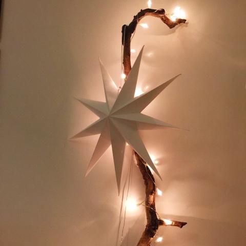 Rüblikuchen und Weihnachtsdekorationen