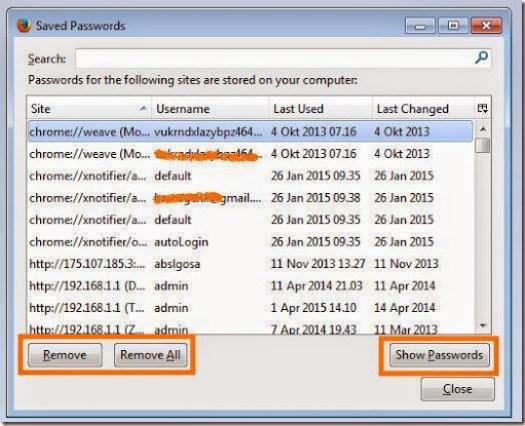 cara menghapus password yang tersimpan di firefox