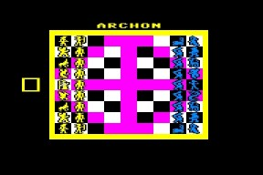 Screen capture of the Commodore 64 game Archon
