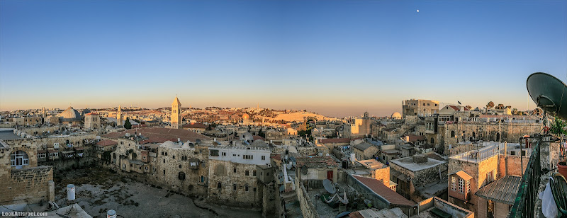 Удивительный Йом Кипур, панорамный восточный Иерусалим и Храмовая гора на закате