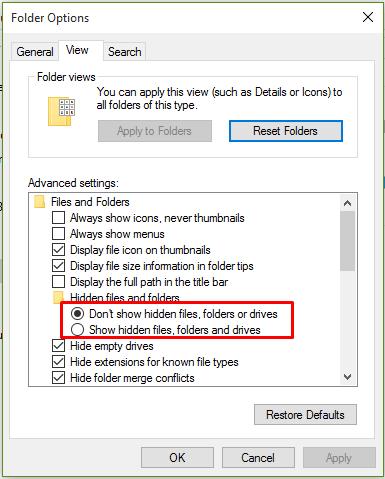 hide folders in windows 10