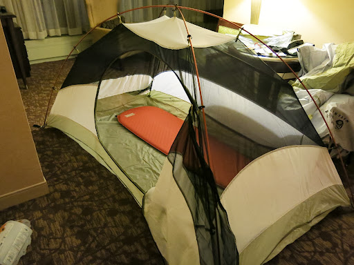 Testing the Thermarest and tent in the Sheraton Denver Downtown suite (nice upgrade)