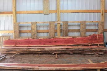 Cedar 279-2  Length 17' Max Width (inches) 20 Min Width (inches) 12 Thickness 8/4  Notes : Kiln Dried