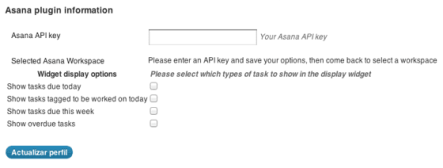 Campos para introducir la clave API y selección de área de trabajo