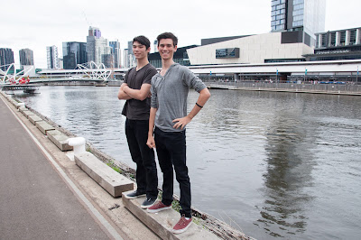 Stefan and Joe opposite South Wharf after our epic journey.