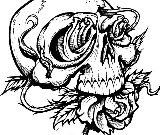 Hd Skull And Roses Coloring Pages Pictures