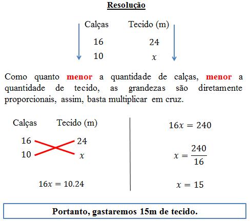 Exercícios resolvidos de regra de três simples