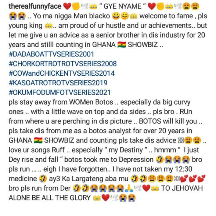 """Stay away from women with """"big b0rt0s"""" it can end your music career - Funny Face advises Black Sherif"""