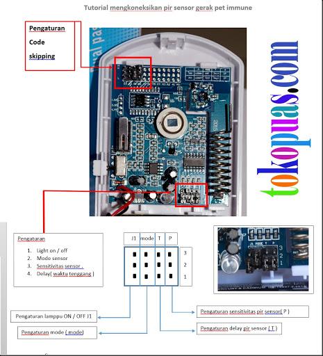cara setting pir sensor gerak alarm gsm pet immune